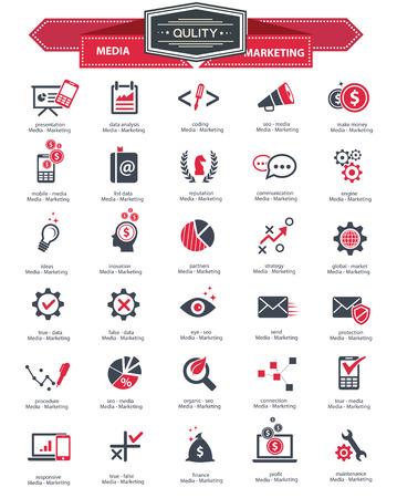 メディア マーケティングのアイコンは、白い背景に赤いバージョン ベクターします。