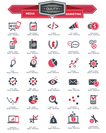 Media   Marketing icons,Red version on white background,vector
