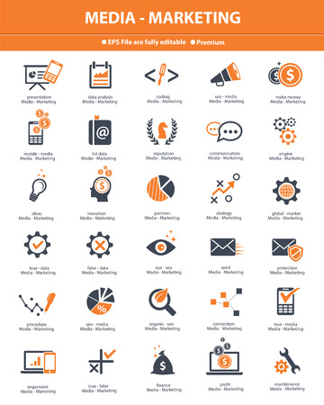 release: Media   Marketing icons,orange version on white background,vector