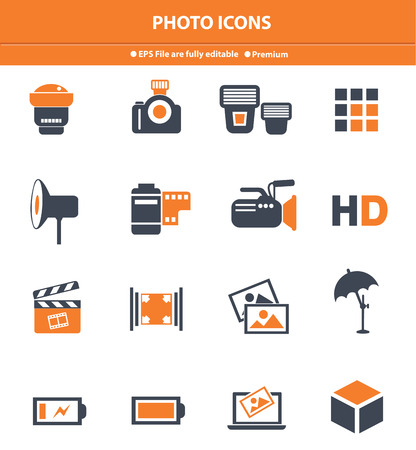 photo icons: Photo icons,Orange version,vector