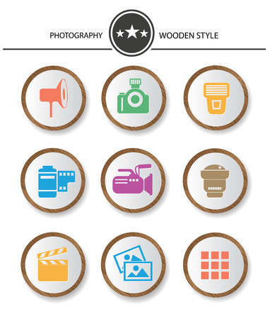 Photography buttons,Wood style on white background,vector Vector