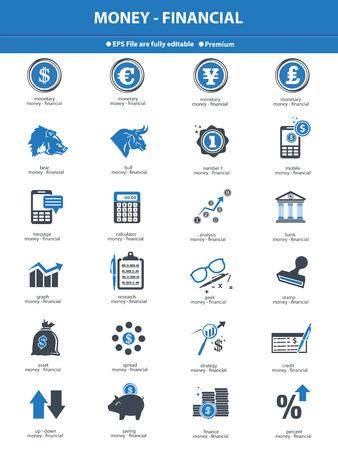 oso negro: Iconos Bolsa finanzas, versión azul sobre fondo blanco, vector Vectores