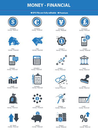 Stock exchange   finance icons,blue version on white background,vector