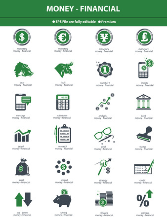 currency converter: Financial icon set,Green version,vector