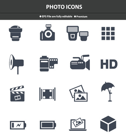 photo icons: Photo icons,Black version,vector Illustration