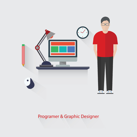 Programer and Graphic design,vector Vector