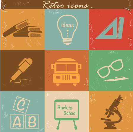 Education icons,vintage version,vector photo