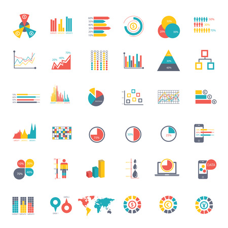 graphic business diagram collection: 36 icons Infographics Data analysis on white background,vector