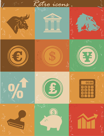 Stock exchange icons,vintage version. photo