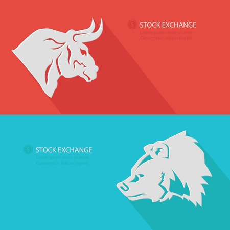 Bull   Bear,Stock exchange concept,Blank for text,vector photo