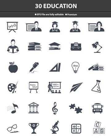 Education icons,dark version,vector Stock Photo - 27777966
