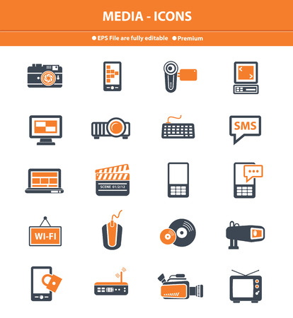 Media icons on white background photo
