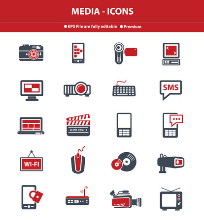 Media icons,Red version,vector photo