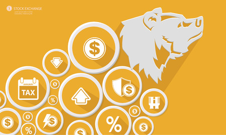クマは株式交換の概念, イエロー バージョン, ベクトル  イラスト・ベクター素材