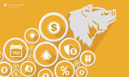 equities: Bear Stock exchange concept,Yellow version,vector