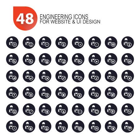 48 Engineer icon set,dark version,vector Vector