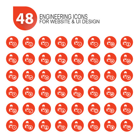 48 Engineering icon set,orange version,vector Vector