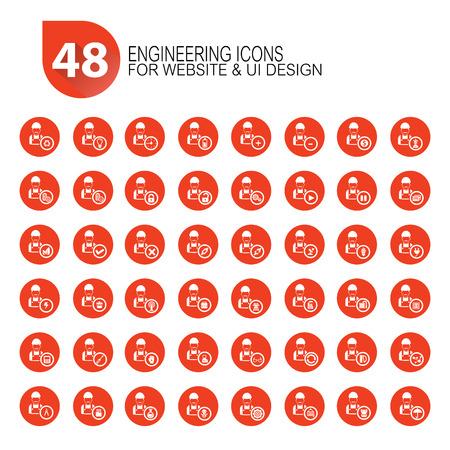 48 Engineering icon set,orange version,vector Vector Illustration