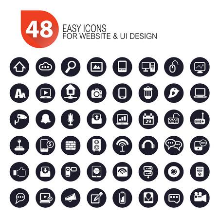 48 Website icon set,dark version,vector Vector