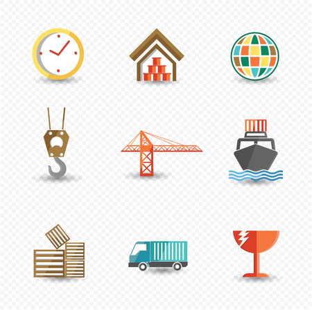 iconos de transporte: Iconos log�sticos y de transporte, vector