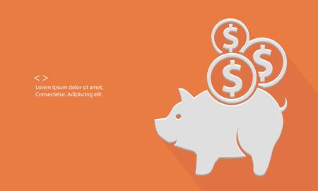 Pig saving money,blank for text,orange version,vector Illustration