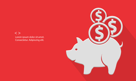 Pig saving money,blank for text,red version,vector Vector