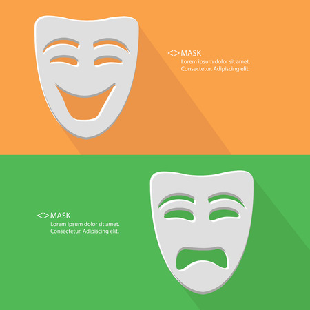 Mask,Smile   Sad,blank for text,vector Vector