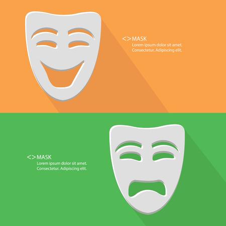 Maska, Smile Sad, puste dla tekstu, wektor