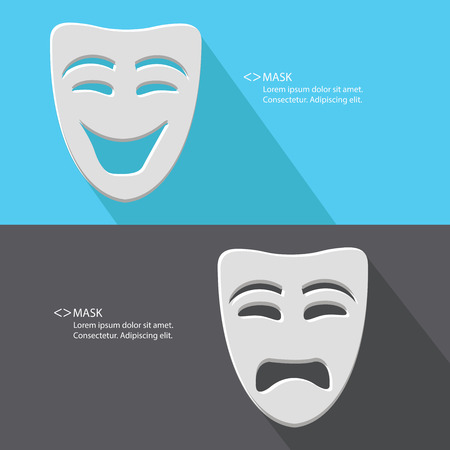 pantomime: Mask,Smile   Sad,blank for text,vector