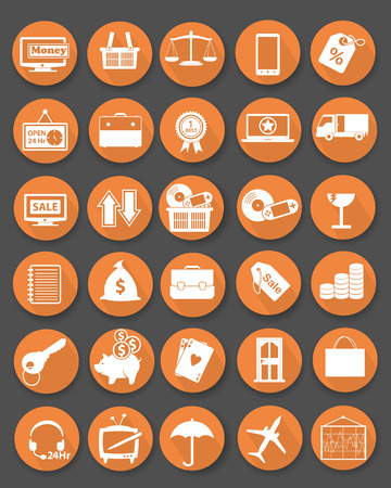 Shopping icon set,Flat icons,Orange version,vector Vector