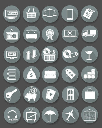 Shopping icon set,Flat icons,Gray version,vector Vector