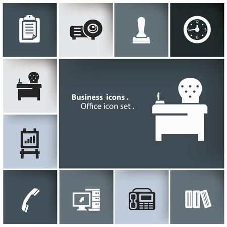 headquarter: Office icon set,vector Illustration