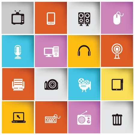 Media   Technology icon set,vector Stock Vector - 28011658