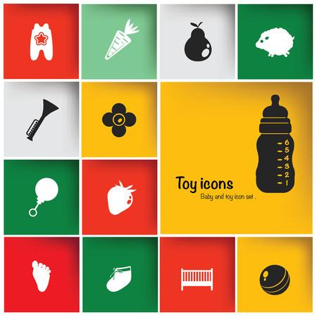 Toy   Baby icon set,vector Çizim