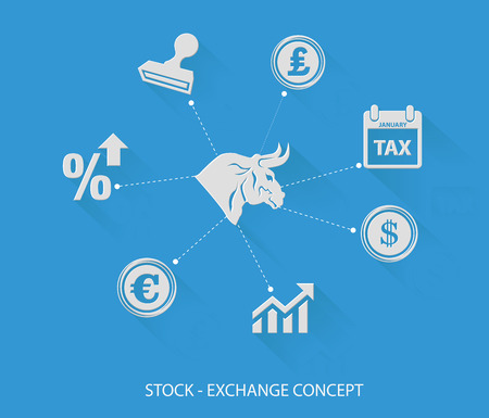 Financial and stock exchange concept,Blank for text,blue version Vector