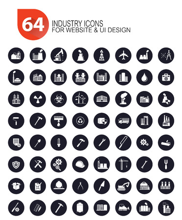 64 Industrial icon set,vector Vector