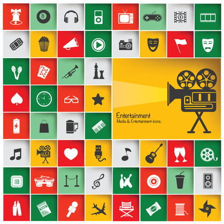 Big set Entertainment   Media icon set,vector Vector