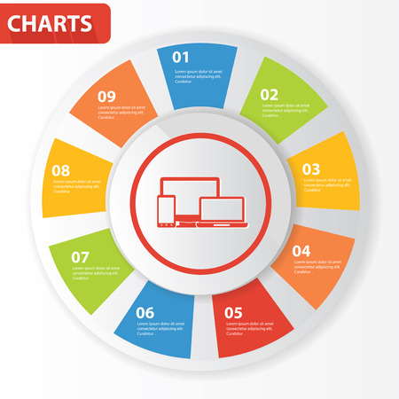 Responsive info graphics,charts design,vector Vector