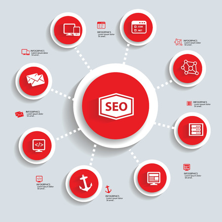 SEO Infographics design,red version,vector Vector