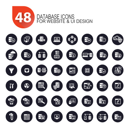 48 Database icons Vector