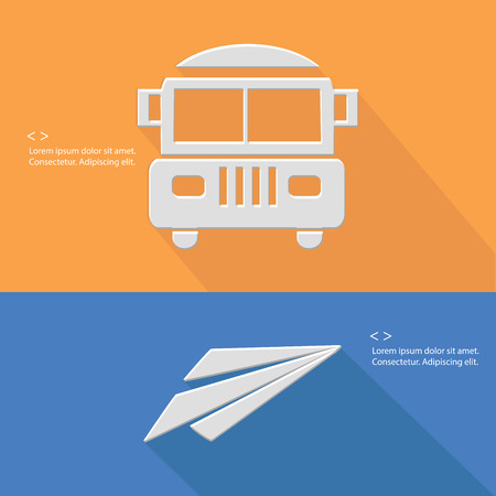 School bus and rocket symbol,Blank for text,vector Vector