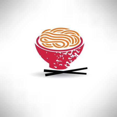 麺シンボル、グランジ ベクトル  イラスト・ベクター素材
