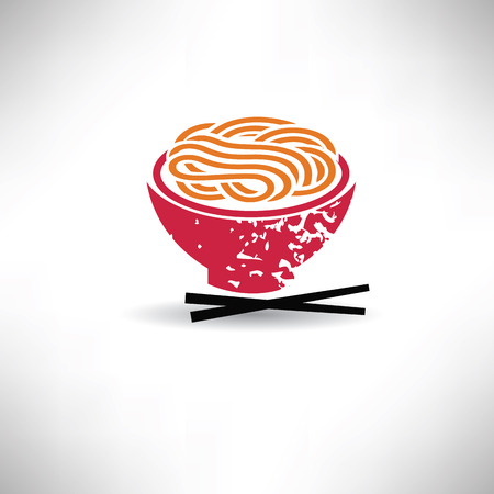 Noodle symbool, grunge vector Stock Illustratie