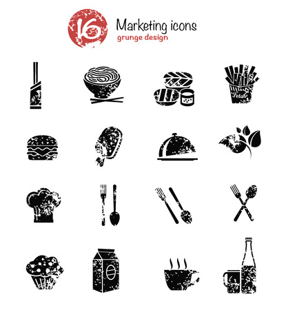 lo mein: Food icon set,black version,grunge vector