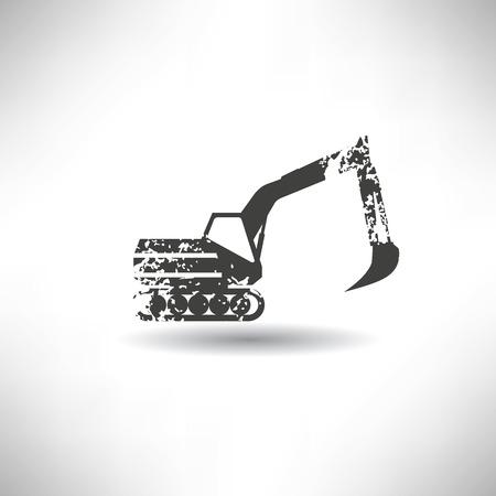 old tractor: Graafmachine symbool, grunge vector