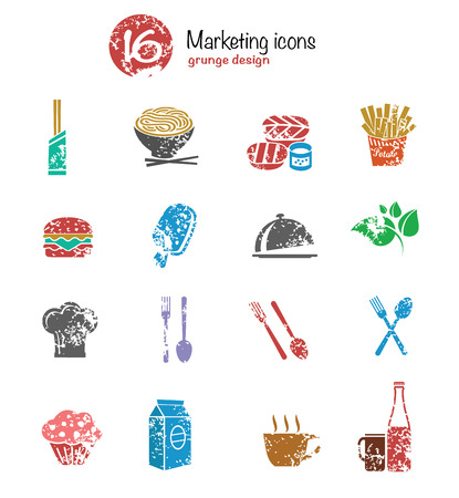 Food icon set,colorful version,grunge vector Vector