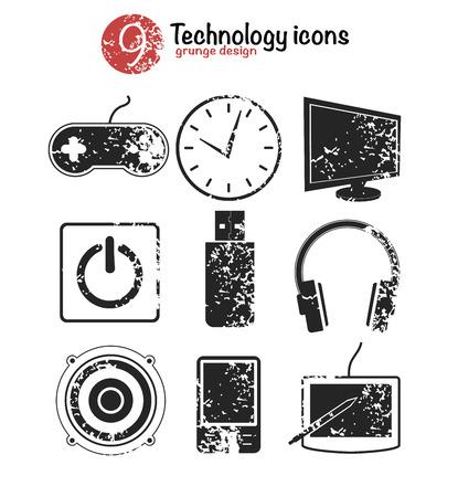Technology icon set,black version,grunge vector Vector