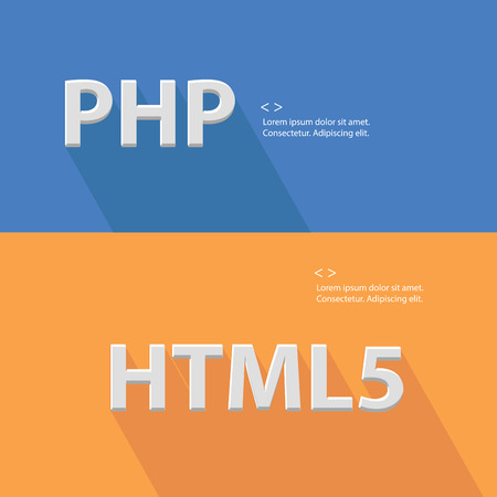 php: PHP,Html5 and Blank for text, vector Illustration