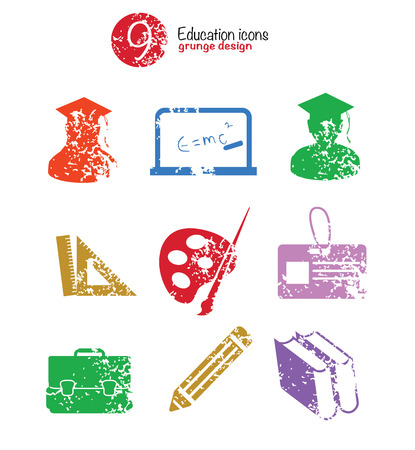 Education icon set,colorful version, grunge vector Vector