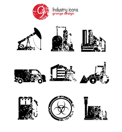 Industry icon set,black version,grunge vector Vector